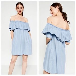 Zara off-the-shoulder chambray dress